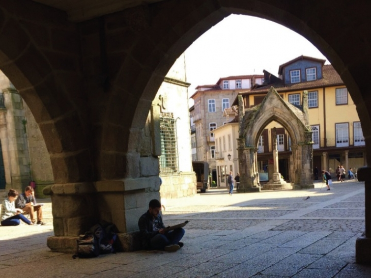 Architecture Students having outdoor sketch classes, Guimaraes, Minho University, Portugal